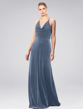 Shop A-Line Halter Cowl Spaghetti Straps Long Floor Length Dusty Blue Kwete Bridesmaid Dress Townsville