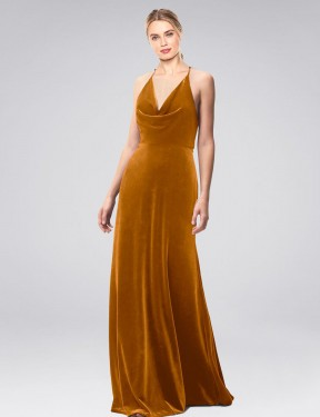 Shop A-Line Halter Cowl Spaghetti Straps Long Floor Length Gold Kwete Bridesmaid Dress Townsville