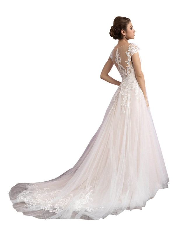 Shop A-Line Illusion Long Cathedral Train Ivory & Champagne Mariana Wedding Dress Townsville