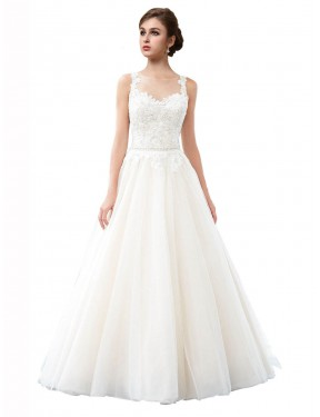 Shop A-Line Illusion Long Cathedral Train Ivory Raegan Wedding Dress Townsville