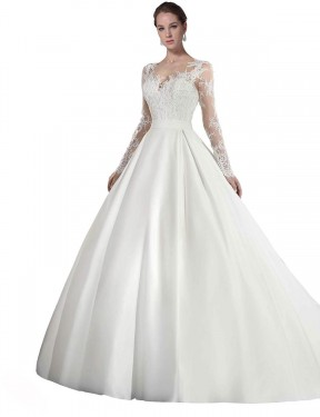 Shop A-Line Illusion Long Cathedral Train White Stephanie Wedding Dress Townsville