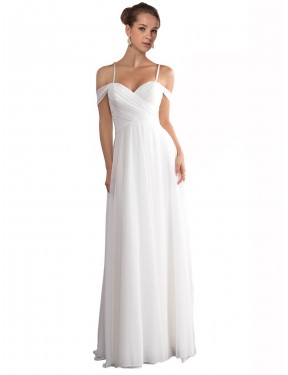 Shop A-Line Off the Shoulder Long Sweep Train Ivory Ruth Wedding Dress Townsville