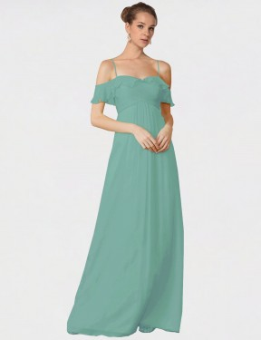 Shop A-Line Spaghetti Straps Off the Shoulder Long Floor Length Seaside Courtney Bridesmaid Dress Townsville