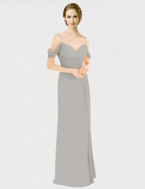Shop A-Line Spaghetti Straps Sweetheart Off the Shoulder Long Floor Length Silver Tori Bridesmaid Dress Townsville
