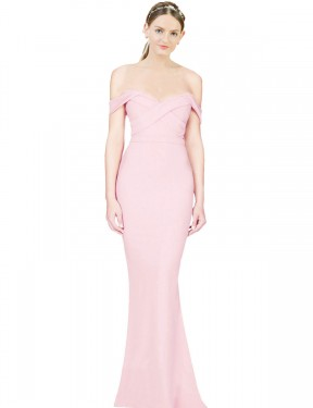 Shop A-Line Strapless Long High Low Pink Ayad Bridesmaid Dress Townsville