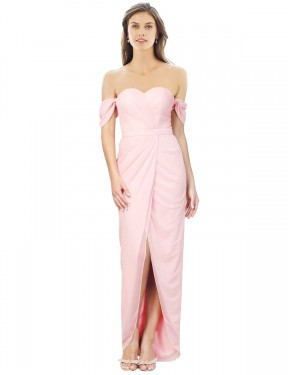 Shop A-Line Strapless Long High Low Pink Gladis Bridesmaid Dress Townsville