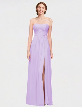 Shop A-Line Strapless Sweetheart Long Floor Length Lilac Cynthia Bridesmaid Dress Townsville