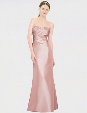 Shop A-Line Strapless Sweetheart Long Floor Length Pink Whitney Bridesmaid Dress Townsville