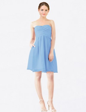 Shop A-Line StraplessSweetheart Short Knee Length Periwinkle Avery Bridesmaid Dress Townsville