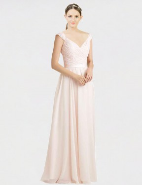 Shop A-Line Sweetheart Long Floor Length Cream Pink Arely Bridesmaid Dress Townsville