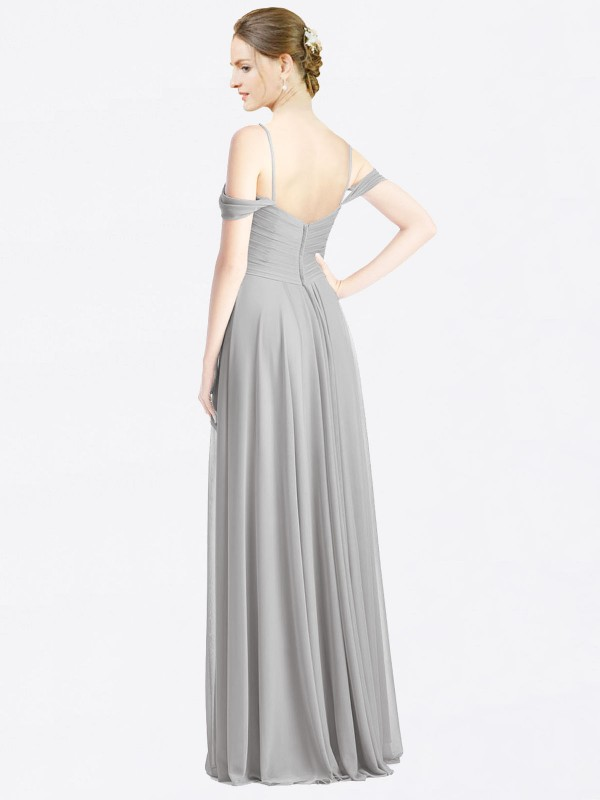Shop A-Line Sweetheart Spaghetti Straps Off the Shoulder Long Floor Length Silver Breanna Bridesmaid Dress Townsville