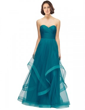 Shop A-Line Sweetheart Strapless Long Floor Length Turquoise Lacey Bridesmaid Dress Townsville