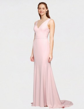 Shop A-Line V-Neck Long Sweep Train Floor Length Pink Polly Bridesmaid Dress Townsville