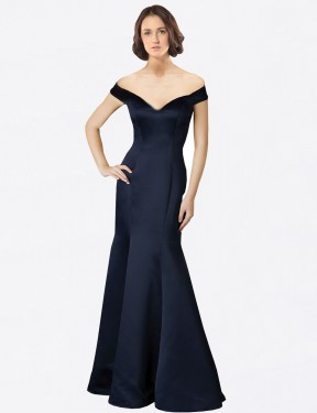 Shop Fit and Flare Off the Shoulder V-Neck Long Floor Length Dark Navy Bailey Bridesmaid Dress Townsville