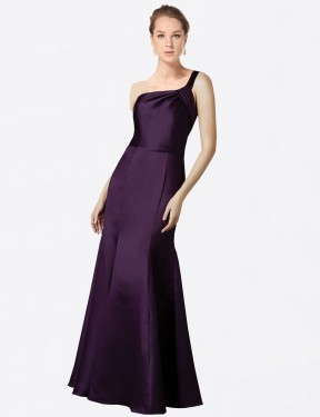 Shop Fit and Flare One Shoulder Long Floor Length Grape Raelynn Bridesmaid Dress Townsville