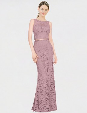 Shop Mermaid Fit and Flare Illusion Neckline Long Floor Length Pink Calliope Bridesmaid Dress Townsville