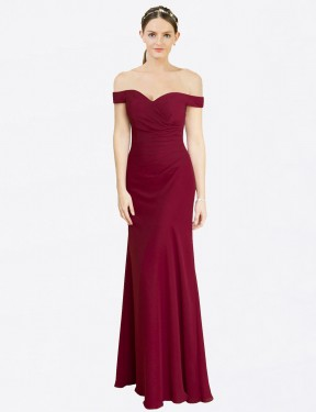Shop Mermaid Fit and Flare Off the Shoulder Long Floor Length Burgundy Carolyn Bridesmaid Dress Townsville