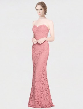 Shop Mermaid Fit and Flare Strapless Sweetheart Long Floor Length Pink Joselyn Bridesmaid Dress Townsville