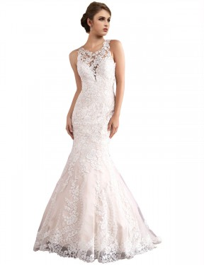 Shop Mermaid Illusion Long Cathedral Train Ivory & Champagne Amiyah Wedding Dress Townsville