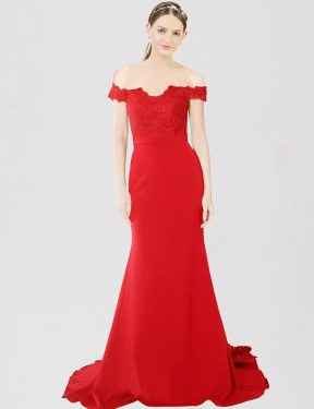 Shop Mermaid Sweetheart Off the Shoulder Long Sweep Train Floor Length Red Dawn Bridesmaid Dress Townsville