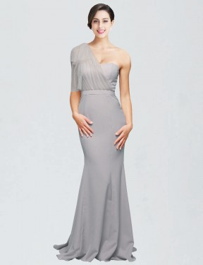 Shop Mermaid Sweetheart One Shoulder Long Sweep Train Floor Length Oyster Silver Dominic Bridesmaid Dress Townsville