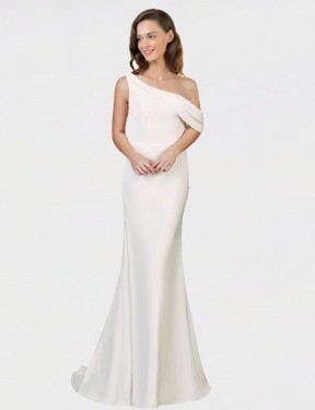 Shop Sheath One Shoulder Long Sweep Train Ivory Cantrell Bridesmaid Dress Townsville