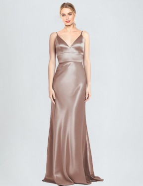 Shop Sheath V-Neck Spaghetti Straps Long Floor Length Dusty Pink Chambers Bridesmaid Dress Townsville